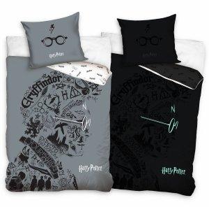 ZESTAW 3 el. Pościel bawełniana świecąca w ciemności 140x200 + RĘCZNIK + PODUSZKA Harry Potter (HP213009SET3CZ)