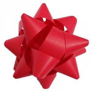 Rozetka wstążka do pakowania prezentów CZERWONA matowa 8,5 cm (97203)