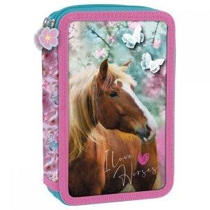 Piórnik z wyposażeniem, dwukomorowy I LOVE HORSES Konie (PWDKO19)