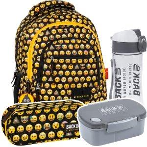 ZESTAW 4 el. Plecak szkolny młodzieżowy BackUP Emoji EMOTIKONY (PLB2XEM86SET4CZ)
