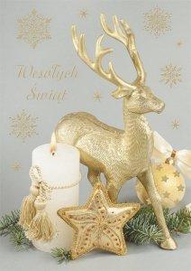 Kartka świąteczna BOŻE NARODZENIE 12 x 17 cm + koperta (47525)
