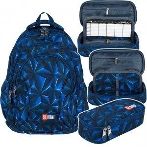 ZESTAW 2 el. Plecak szkolny młodzieżowy ST.RIGHT granatowa abstrakcja 3D, 3D NAVY ABSTRACTION BP2 (25671SET2CZ)