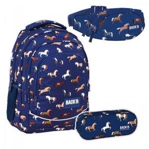 ZESTAW 3 el. Plecak szkolny młodzieżowy BackUP 26 L KONIE (PLB4X19SET3CZ)
