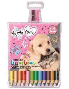 Kredki BAMBINO w oprawie drewnianej 12 kolorów + temperówka My Little Friend DOG Piesek (28153)