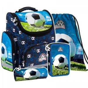 ZESTAW 4 el. Tornister szkolny ergonomiczny FOOTBALL Piłka nożna (TEMBPI16SET4CZ)