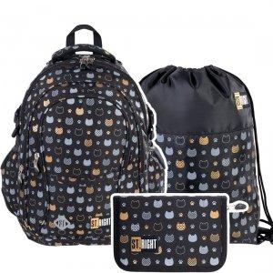 ZESTAW 3 el. Plecak szkolny młodzieżowy ST.RIGHT złote kotki, GOLDEN CATS BP1 (38176SET3CZ)