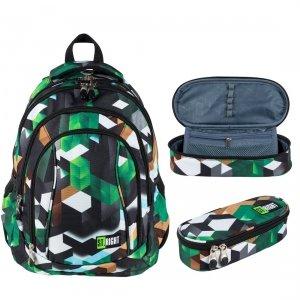 ZESTAW 2 el. Plecak szkolny ST.RIGHT młodzieżowy w zielone klocki 3D, GREEN 3D BLOCKS BP4 (26265SET2CZ)
