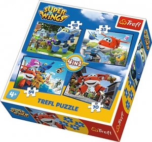 TREFL Puzzle 4 w 1 Super Wings, Odlotowa paczka (34280)