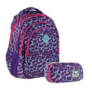 ZESTAW 2 el. Plecak szkolny HASH 27 L panterka, PINK PANTHER (502020047SET2CZ)