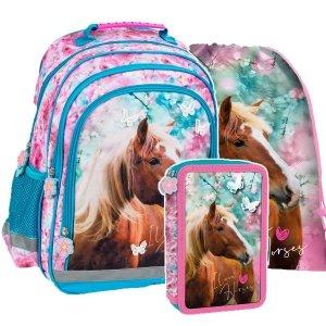 ZESTAW 3 el. Plecak szkolny I LOVE HORSES Konie (PL15BKO19SET3CZ)