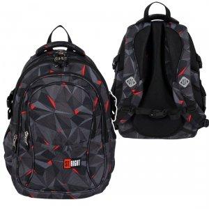 Plecak szkolny młodzieżowy ST.RIGHT czarna abstrakcja 3D, 3D BLACK ABSTRACTION BP1 (26371)