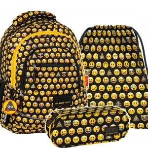 ZESTAW 3 el. Plecak szkolny młodzieżowy BackUP Emoji EMOTIKONY (PLB2XEM86SET3CZ)