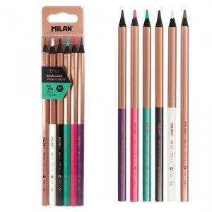 Kredki ołówkowe sześciokątne MILAN 6 kolorów czarne drewno COOPER (0713206)