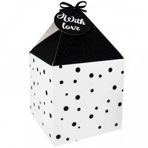 Pudełko prezentowe świąteczne na prezent 4 szt. BIAŁO- CZARNE KROPKI Incood. ( 0040-0159)