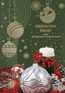 Kartka świąteczna BOŻE NARODZENIE 12 x 17 cm + koperta (28216)