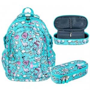 ZESTAW 2 el. Plecak szkolny młodzieżowy ST.RIGHT w pastelowe lamy, PASTEL LAMAS BP1 (26708SET2CZ)