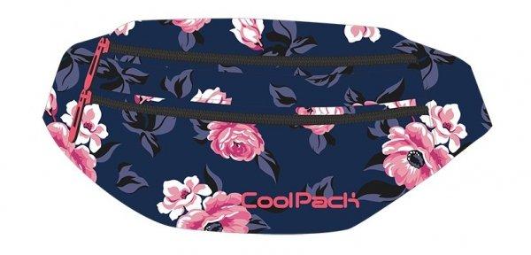 SASZETKA NERKA CoolPack na pas torba MADISON granatowa w pastelowe róże, ROSE GARDEN (92296CP)
