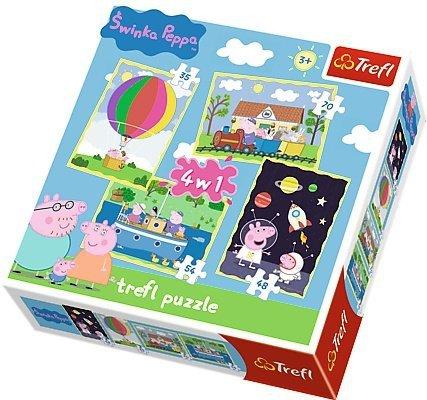 TREFL Puzzle 4 w 1 Świnka Peppa, Przygody Peppy (34131)
