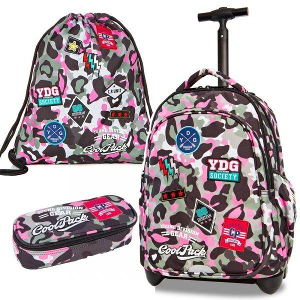 ZESTAW 3 el. Plecak CoolPack JUNIOR na kółkach różowe moro w znaczki CAMO PINK BADGES (24046SET3CZ)