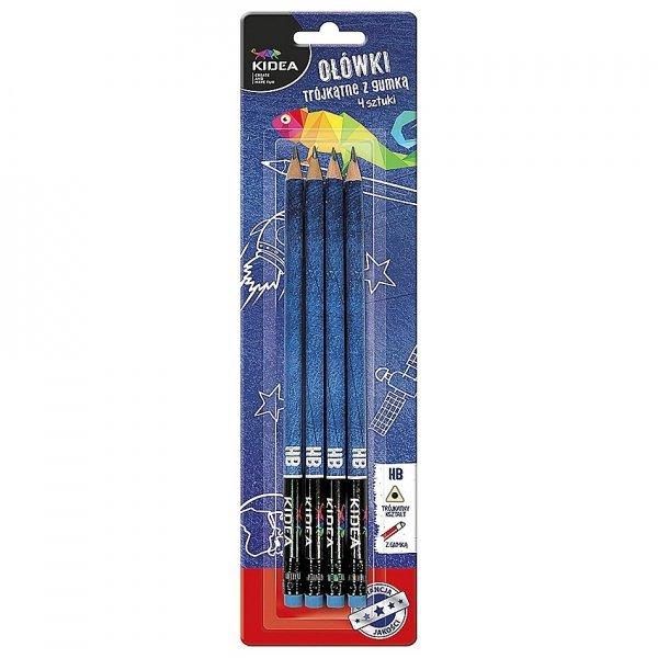 Ołówki szkolne trójkątne z gumką HB 4 szt. KIDEA (OTG4KA)