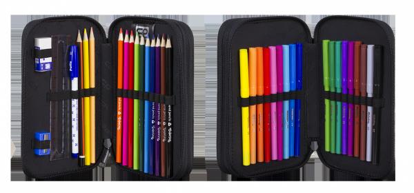 Piórnik CoolPack dwukomorowy z wyposażeniem JUMPER 2 kolorowa przeplatanka, RIBBON GRID (91084CP)