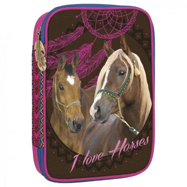 Piórnik z wyposażeniem WIELOFUNKCYJNY I LOVE HORSES Konie (PWJWKO16)