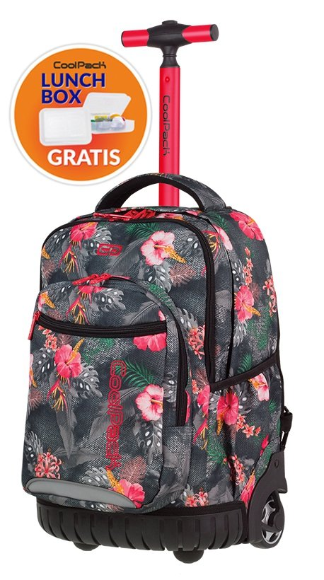 Plecak CoolPack SWIFT  na kółkach kwiaty na grafitowym tle, CORAL HIBISCUS + gratis (85622CP)