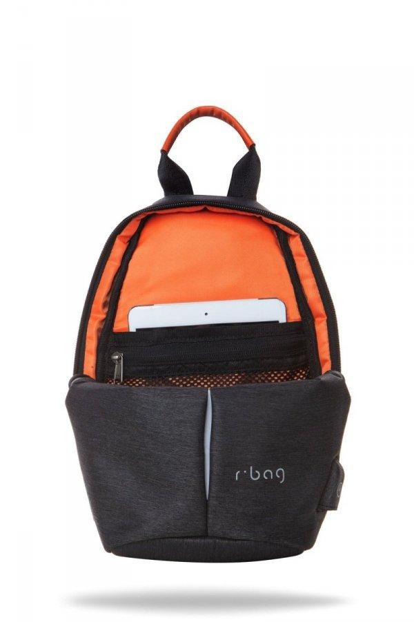 Plecak męski na jedno ramię z USB Photon Black Czarny R-Bag (Z101)