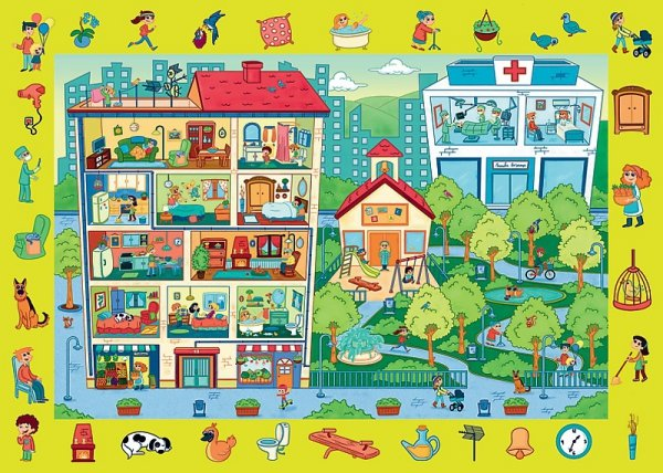 TREFL Puzzle Obserwacyjne 70 el. Odwiedzamy miasteczko (15534)