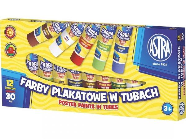 Farby plakatowe w tubach 12 kolorów 30 ml ASTRA (20263)