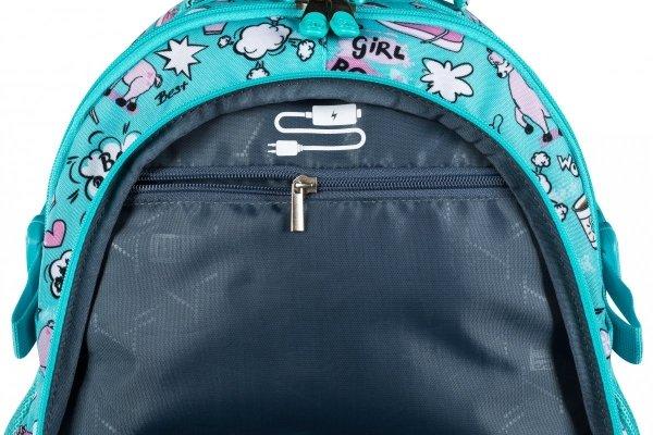 ZESTAW 3 el. Plecak szkolny młodzieżowy ST.RIGHT w pastelowe lamy, PASTEL LAMAS BP1 (26708SET3CZ)