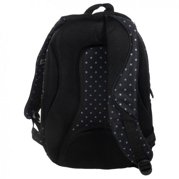 Plecak szkolny młodzieżowy Back UP czarna w szare groszki GREY DOTS + słuchawki (PLB1B28)