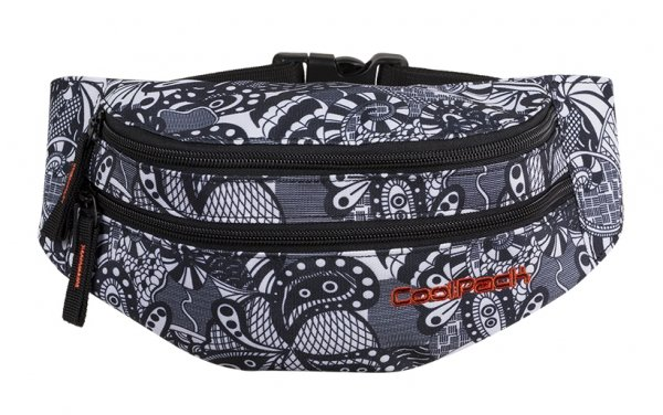 SASZETKA NERKA CoolPack na pas torba MADISON czarno białe wzory, BLACK LACE (86407CP)