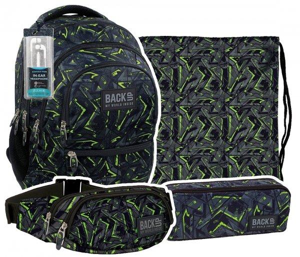 ZESTAW 4 el. Plecak szkolny młodzieżowy Back UP zielone wzory GREEN SCRATCH + słuchawki (PLB1C31)