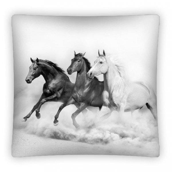 Poszewka na poduszkę 3D KONIE czarno - białe 40 x 40 cm (PS0010)