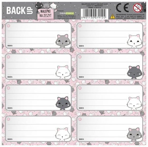 Nalepki na zeszyty BackUP kotki RÓŻOWY (NNZB3A35)