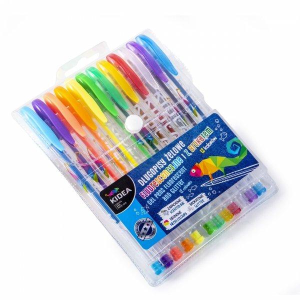 KIDEA Długopisy żelowe 12 kolorów Brokatowe Neonowe Zapachowe (DZ12KA)