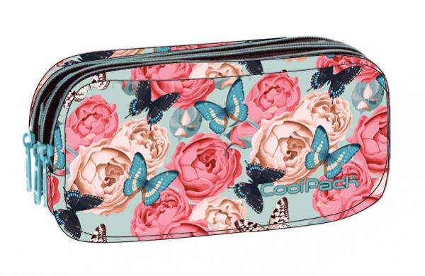 Piórnik CoolPack PRIMUS saszetka trzykomorowa kwiaty i motyle, BUTTERFLIES (B60127)