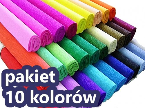 Bibuła marszczona 50x200 cm PAKIET 10 KOLORÓW (PAK10K02)