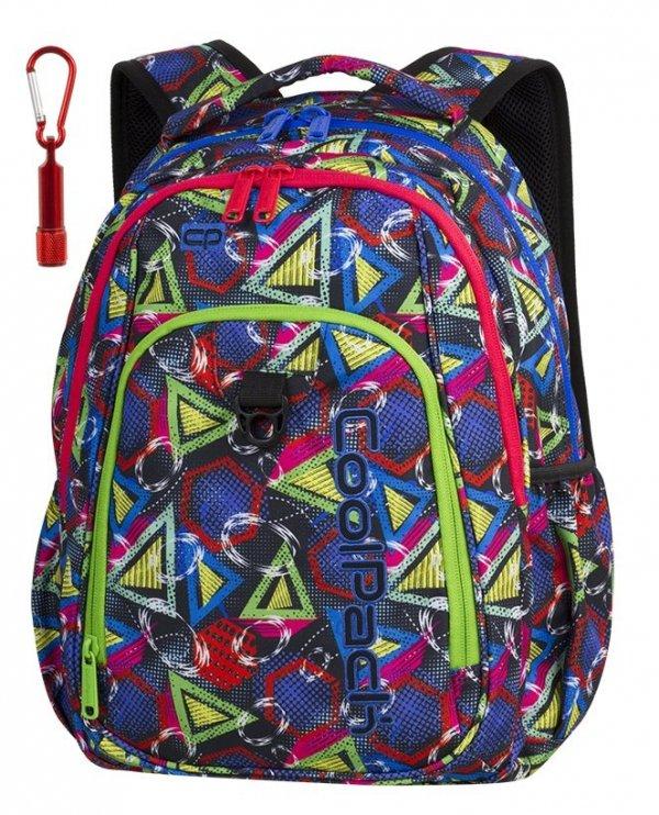 Plecak CoolPack STRIKE kolorowe wzory geometryczne, GEOMETRIC SHAPES + latarka (85229CP)