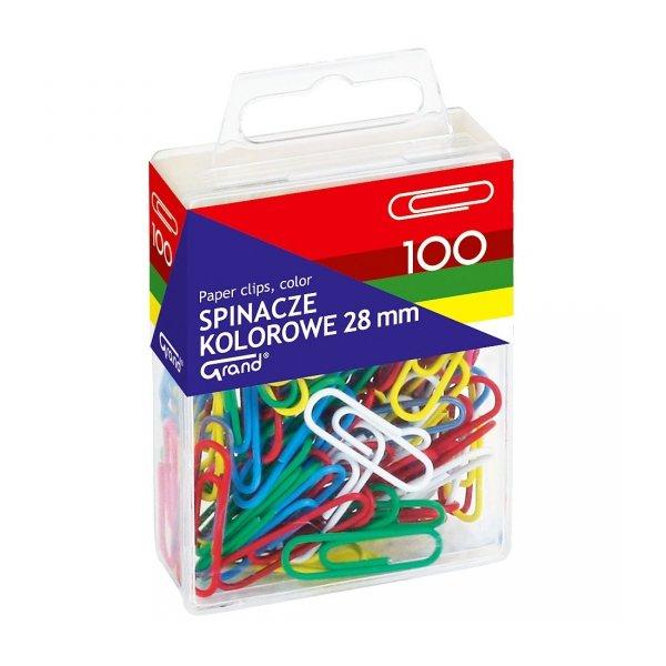 Spinacze kolorowe 28 mm x 100 sztuk, GRAND (110-1139)