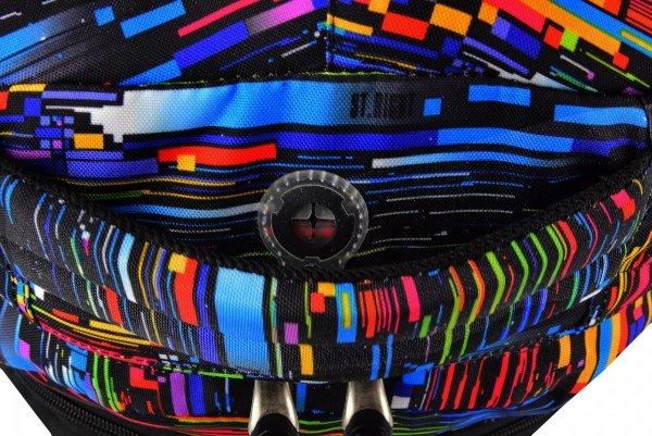 Plecak szkolny młodzieżowy ST.RIGHT czarny w kolorowe paski, BETA STRIPES BP34 (17966)