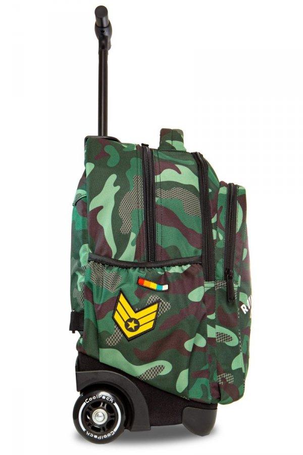Plecak CoolPack JUNIOR na kółkach zielone moro w znaczki CAMO GREEN BADGES (23742)