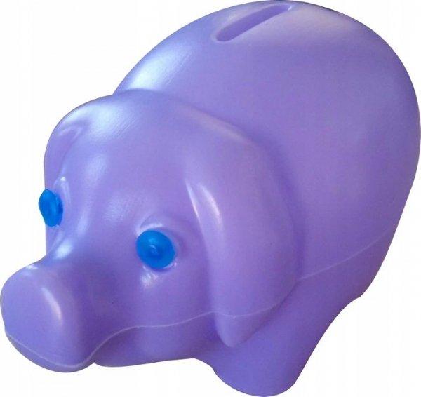 Skarbonka świnka plastikowa FIOLETOWA (00172)
