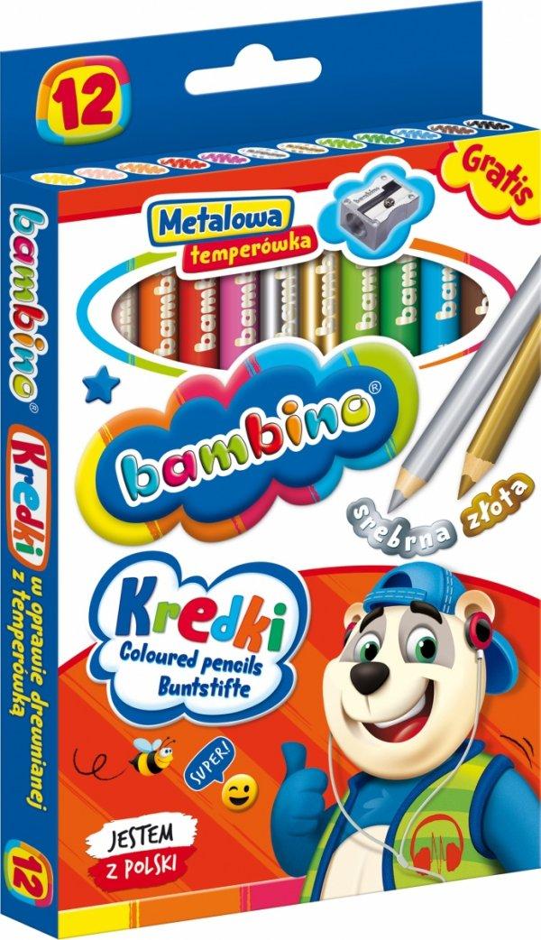 Kredki BAMBINO w oprawie drewnianej 12 kolorów + temperówka (00249)