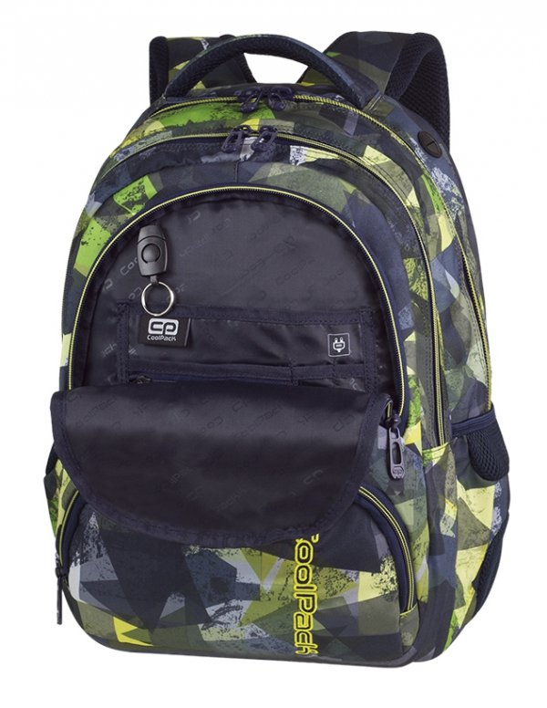 Plecak CoolPack SPINER zielone wzory geometryczne, LIME ABSTRACT z latarką (84830CP)