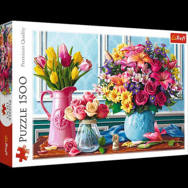 TREFL Puzzle 1500 el. Kwiaty w wazonach (26157)