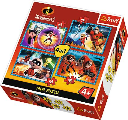 TREFL Puzzle 4 w 1 Iniemamocni, Niesamowita rodzinka (34306)