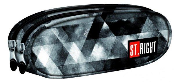Piórnik dwukomorowy ST.RIGHT czarny w szare trójkąty, WATERCOLOUR PU2 (18031)