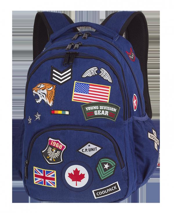 Plecak szkolny młodzieżowy COOLPACK BENTLEY niebieski w znaczki, BADGES NAVY (89616CP)